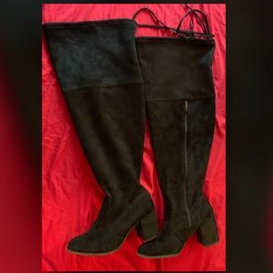 Thigh high black velvet boots. Wide calf/thigh.
